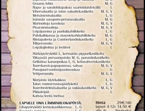 Isäinpäivä 10.11 kattaukset klo 13 ja 15